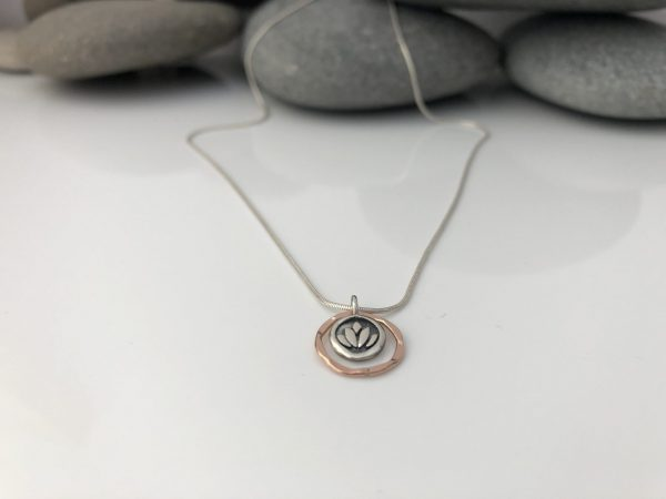 silver and rose gold lotus flower necklace mixed metal charm necklace yoga necklace lotus charm 5e344b0f scaled
