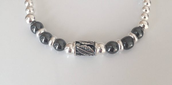 chunky sterling silver and hematite bracelet 5e45a88b