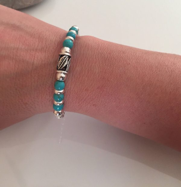 chunky sterling silver and turquoise bracelet 5e45b93e
