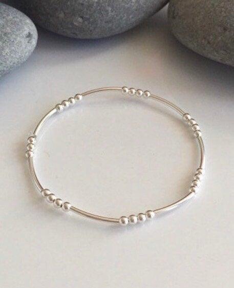 delicate sterling silver beaded stretch bracelet 5e4597a4