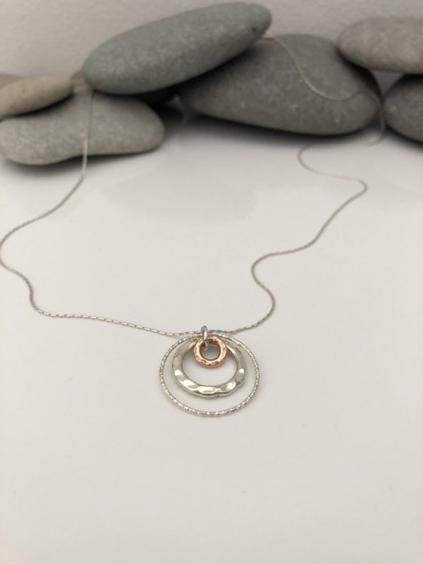 long silver necklace long necklace mixed metal circle necklace long silver charm necklace silver circle necklace long silver pendant 5e41671a