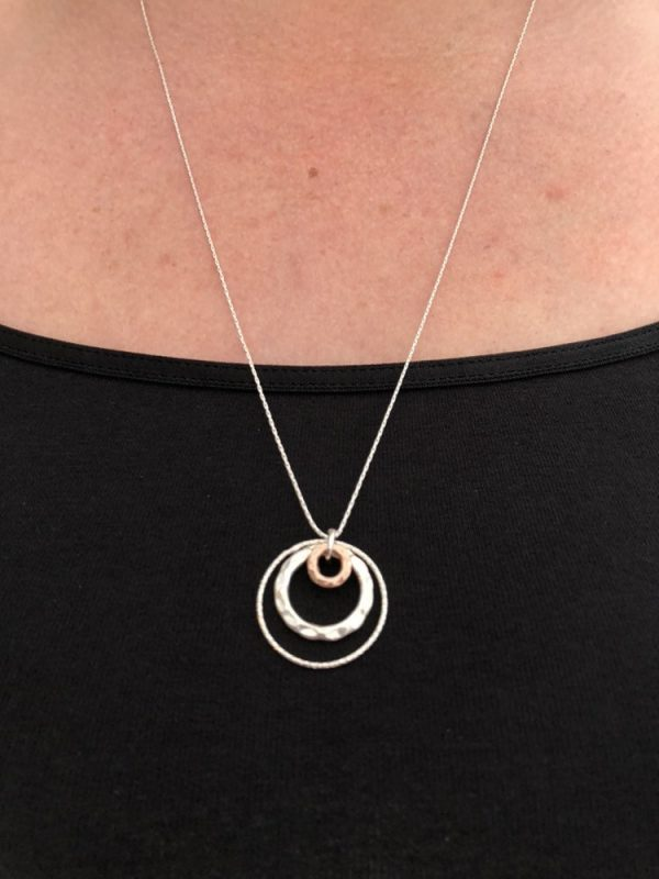 long silver necklace long necklace mixed metal circle necklace long silver charm necklace silver circle necklace long silver pendant 5e416721