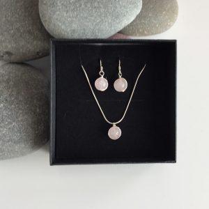 rose quartz necklace and earring set 5e459596