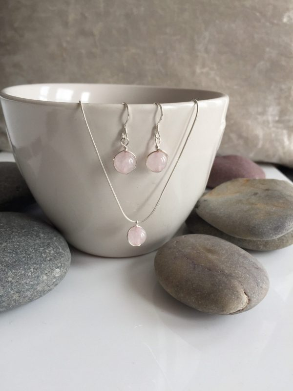 rose quartz necklace and earring set 5e4595a1 scaled