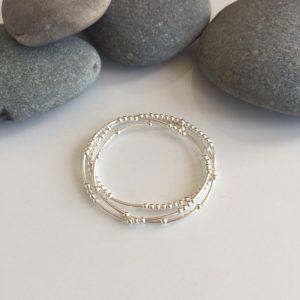 set of 3 delicate sterling silver beaded noodle bracelets 5e45ab1c