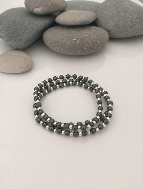 set of 3 silver and black gemstone stacker bracelets 5e45a7fe scaled