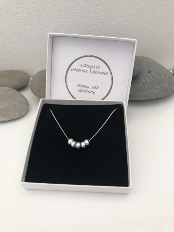 silver 50th birthday necklace 50 birthday gift 4 5e45730d