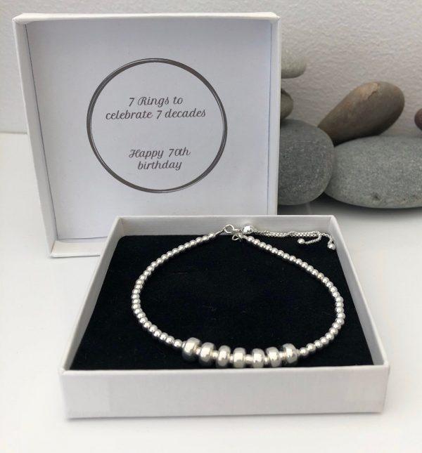 silver 70th birthday bracelet 70 birthday gift 5e459fbd scaled