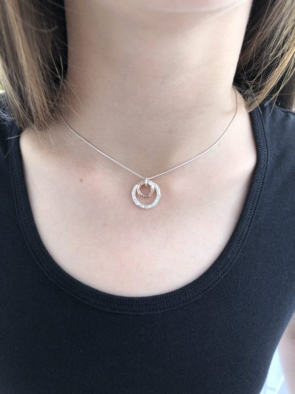 silver and rose gold double circle necklace 5e45a428 scaled