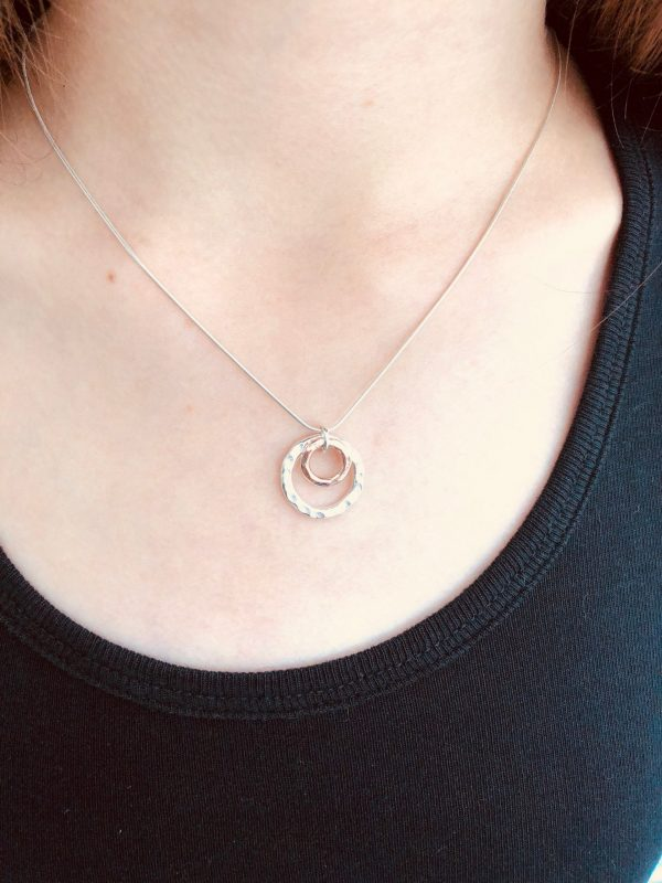 silver and rose gold double circle necklace 5e45a436 scaled