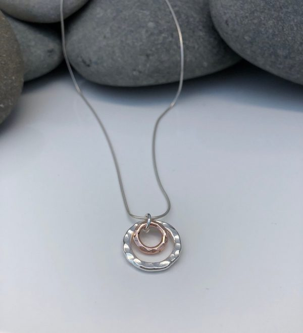 silver and rose gold double circle necklace 5e45a444 scaled