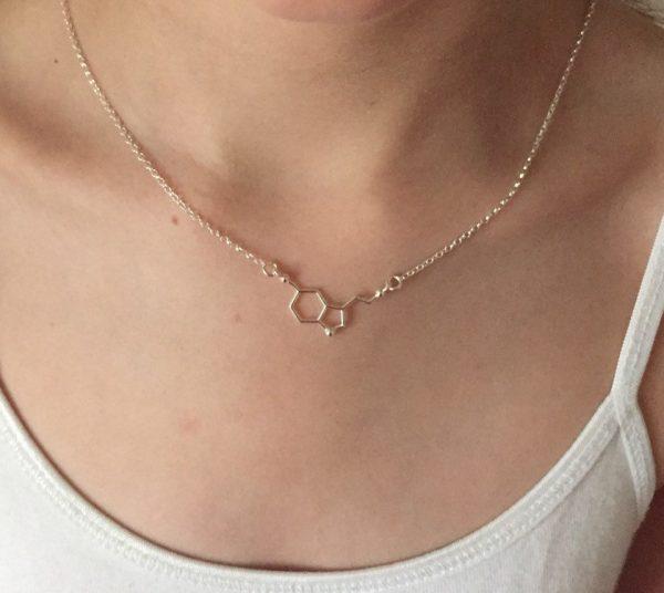 silver serotonin molecule necklace 5e459a5b