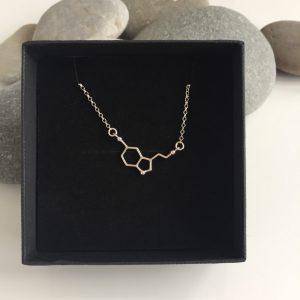 silver serotonin molecule necklace 5e459a6d scaled