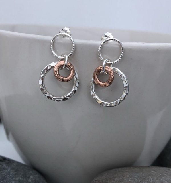 sterling silver and rose gold circle earrings 5e45b7c5