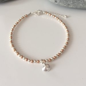 sterling silver and rose gold clam shell bracelet 5e45987e