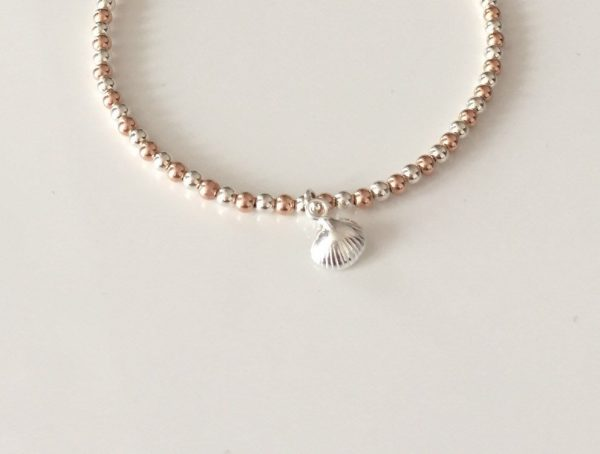 sterling silver and rose gold clam shell bracelet 5e459896