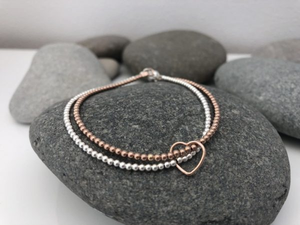 sterling silver and rose gold heart bracelet 5e457019