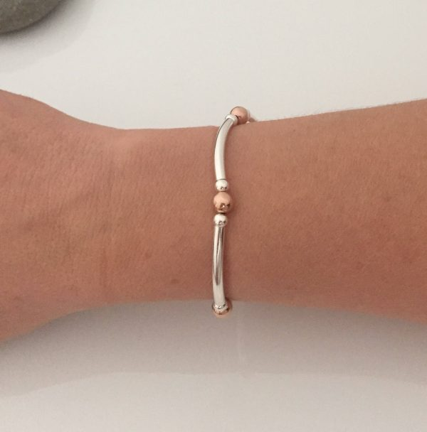 sterling silver and rose gold stretch bracelet 5e45b915