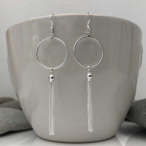 sterling silver circle and tassel dangle earrings 5e45bdbd