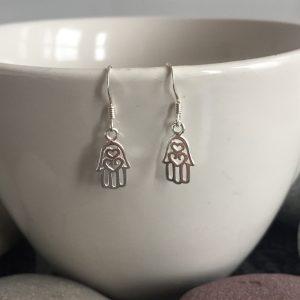 sterling silver hamsa hand earrings hamsa charm dangle earrings 5e4174ed