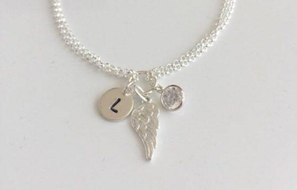 sterling silver personalised angel wing bracelet 5e457057