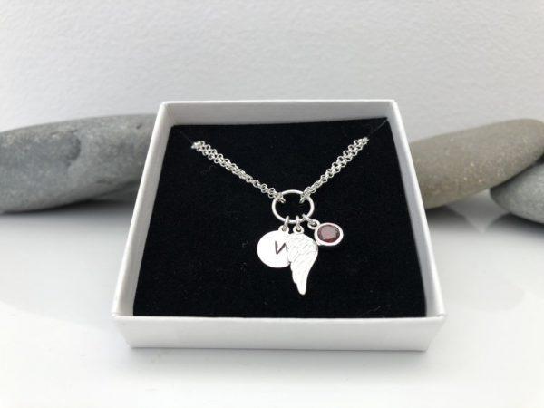 sterling silver personalised angel wing bracelet 5e457059