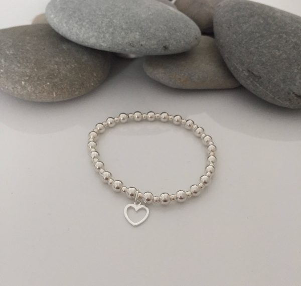 sterling silver stretch bracelet with sterling silver heart charm 5e4571a8