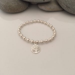 sterling silver tree of life beaded stretch bracelet 5e45a583 scaled