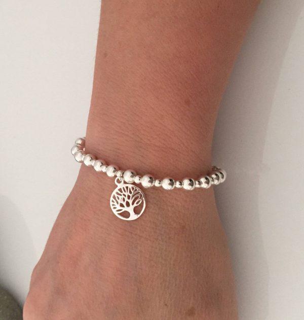 sterling silver tree of life beaded stretch bracelet 5e45a58b