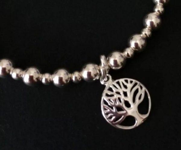 sterling silver tree of life beaded stretch bracelet 5e45a59c