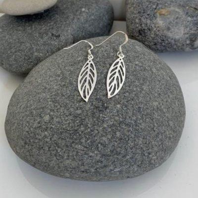 silver cut leaf earrings